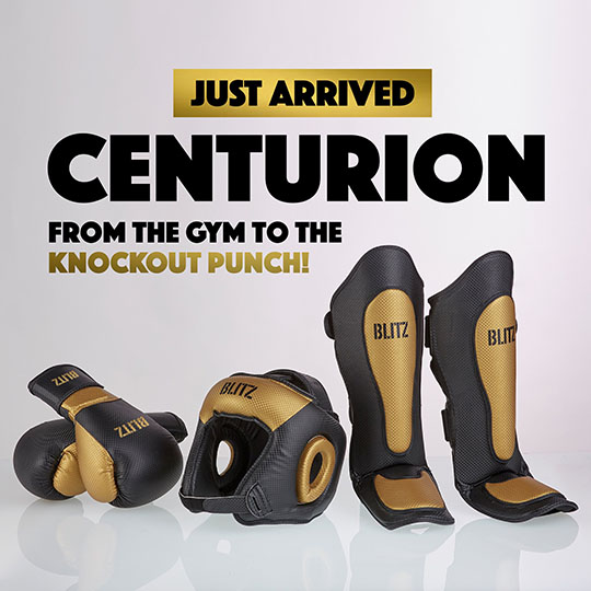 New Blitz Sport Centurion Boxing Gloves, Shin Guards and Headgear