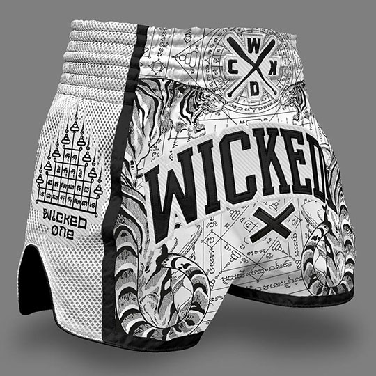 Wicked One 'Tiger' White Muay Thai Shorts