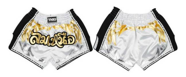 Top King Retro Muay Thai Shorts White & Black