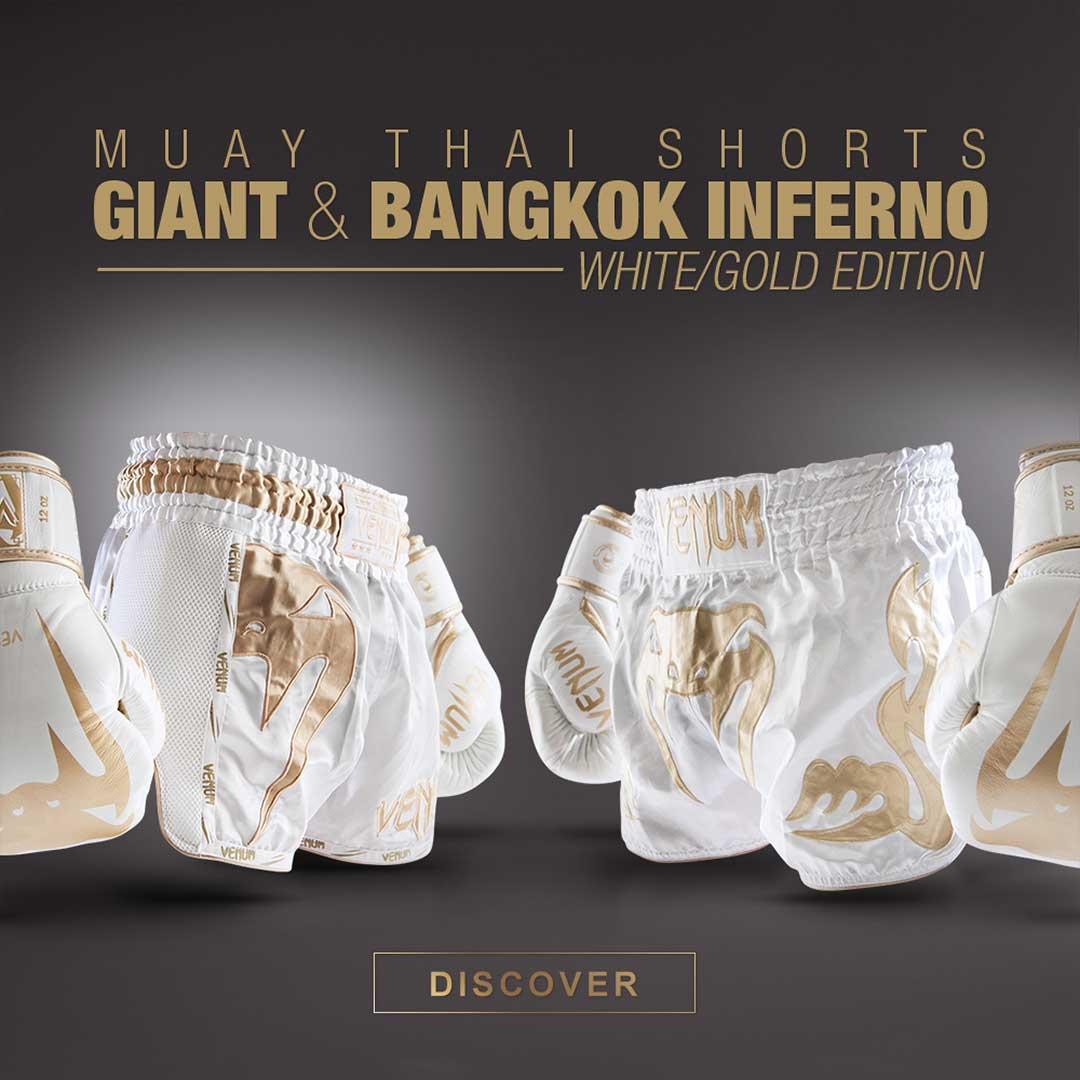 Venum White/Gold Giant & Bangkok Inferno Muay Thai Shorts