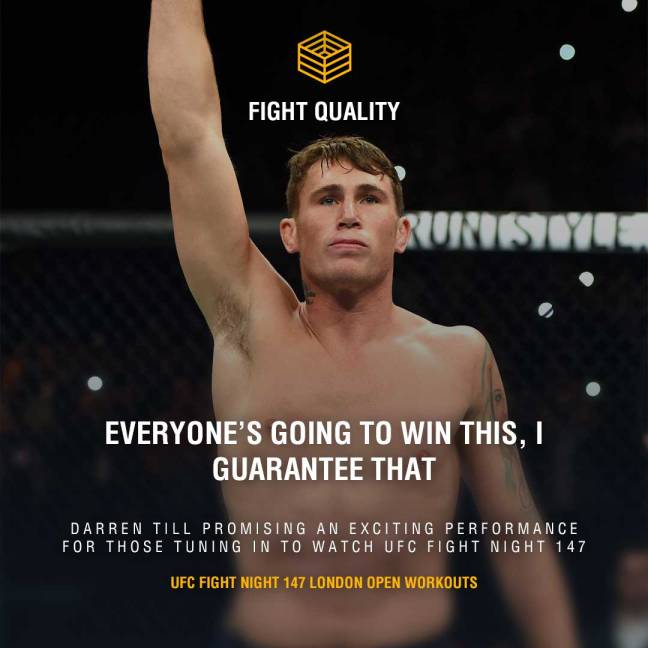 """Everyone's going to win this, I guarantee that"" - Darren Till, promising an exciting performance for those tuning in to watch this saturday"