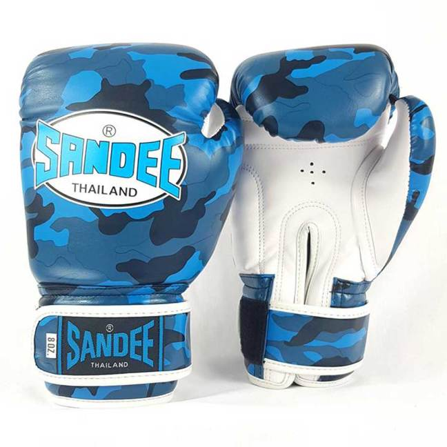 Sandee Kids Authentic Velcro Camo Synthetic Leather Boxing Gloves